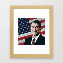 Patriotic President Reagan Framed Art Print