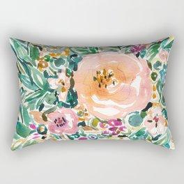 SMELLS LIKE LUSH MORNINGS Floral Watercolor Rectangular Pillow