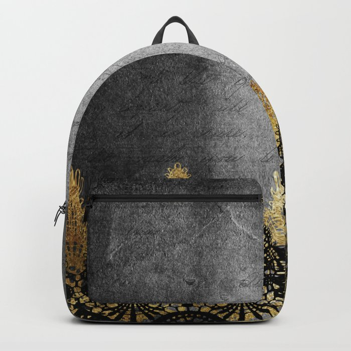 Pure elegance II - Luxury Gold and black lace on grunge dark background Backpack