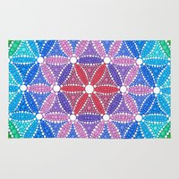 flower of life Area & Throw Rugs featuring Lotus Flower of Life by Elspeth McLean