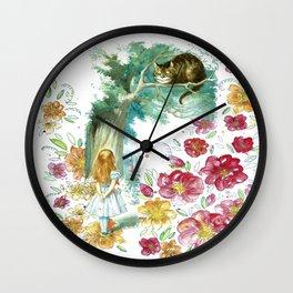 Floral Alice In Wonderland Wall Clock