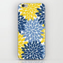 Blue Yellow Flower Burst Floral Pattern iPhone Skin