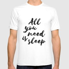 All you need is sleep White MEDIUM Mens Fitted Tee