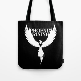 PHOENIX RISING white with heart center Tote Bag