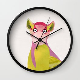 Lemur and a chewing gum club Wall Clock