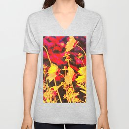 Blowing In The Wind Floral Unisex V-Neck