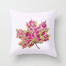 Pretty Colorful Watercolor Autumn Leaf Throw Pillow