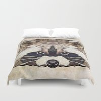 racoon Duvet Covers featuring Racoon by Ancello