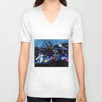 wall e V-neck T-shirts featuring Wall-E Collage by artbywilliam