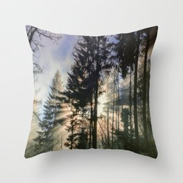 Sun Shinning Thru Trees Throw Pillow