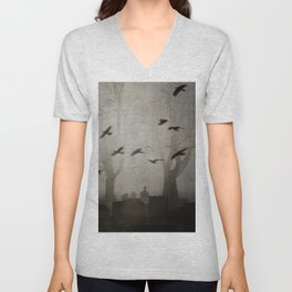Gothic Crows Eerie Ceremony Unisex V-Neck