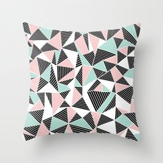 AbLines with Blush Mint Blocks Throw Pillow
