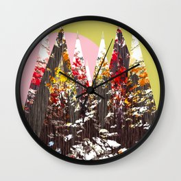 """Trees, Mountains, Flowers, Sun Vector Illustration"" Wall Clock"