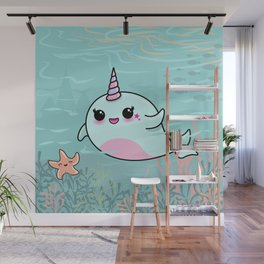 Cute Narwhal and Starfish Wall Mural