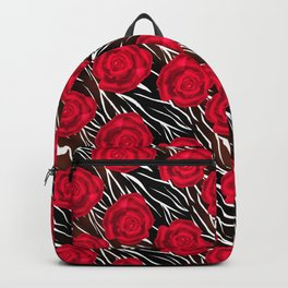 Red roses on tiger background. Abstract creative pattern. Backpack
