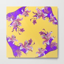 ORIENTAL STYLE PURPLE-YELLOW FLOWERS Metal Print
