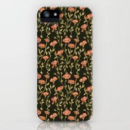 Dark Botanical Pattern iPhone Case
