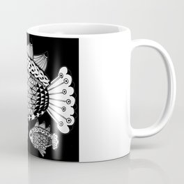 Fishies Zentangle Black and White Pen & Ink Coffee Mug