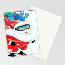 Santa Skiing 1 Stationery Cards
