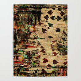 Abstract Vintage Playing cards  Digital Art Poster