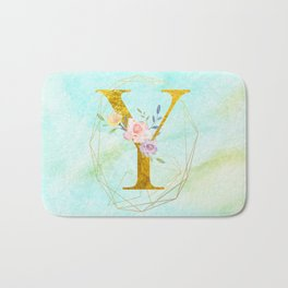 Gold Foil Alphabet Letter Y Initials Monogram Frame with a Gold Geometric Wreath Bath Mat