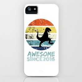 Awesome Since 2016 Black T-rex Dinosaur Tee Shirt iPhone Case