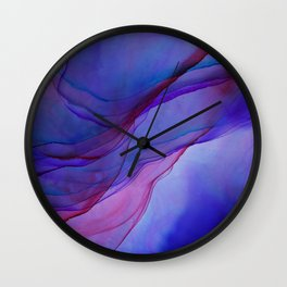Magenta Violet Ink Flow Painting Wall Clock