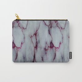 White with Maroon Marbling Carry-All Pouch