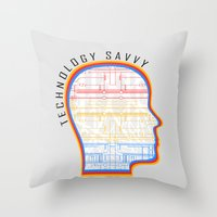 technology Throw Pillows featuring Technology Savvy by Adil Siddiqui