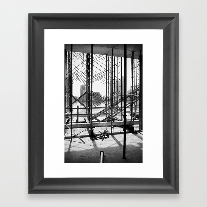Water View Through Scaffolding in Miami Framed Art Print