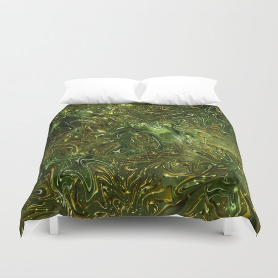 The Wolves Hidden in the Jade Green Galaxy Duvet Cover