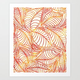 Bright and Summery Leaf Lines Art Print