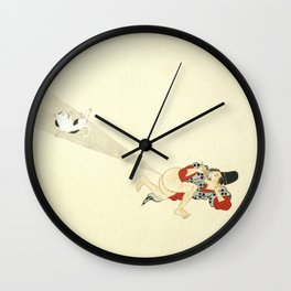 Samurai Farting On A Cat - Funny - Japanese - Samurai Wall Clock