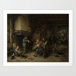 Peasants in an Interior, Adriaen van Ostade, 1661 Art Print