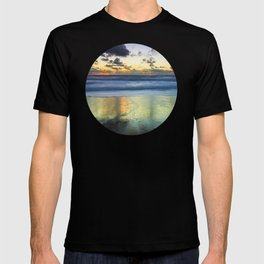 Sea storm approaching the beach making reflections in the sand T-shirt