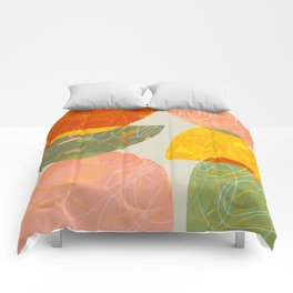 abstract geometry line art coral mustard green light tan Comforters