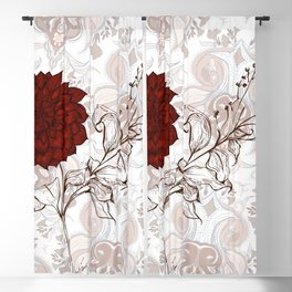 Aries Dahlia in red - Contemporary Botanical dahlia, fire, aries, botany, art, design, nanjing, sign Blackout Curtain
