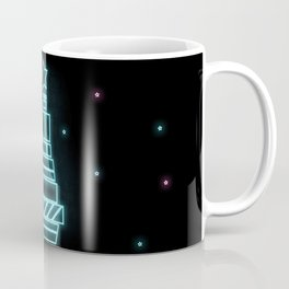 Merry Christmas blue, pink tree on black background. Abstract neon wallpaper Coffee Mug