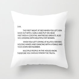 Anonymous letter to sam jersey Throw Pillow