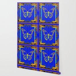 Lapis Blue & Gold Monarch Western Art design Wallpaper
