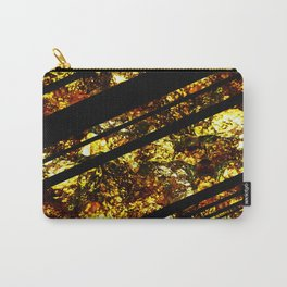 Gold Bars - Abstract, black and gold metallic, textured diagonal stripes pattern Carry-All Pouch