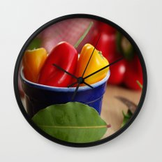 Fresh peppers kitchen still life Wall Clock