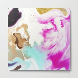 Happiness Ever Abstract Watercolor Painting Metal Print