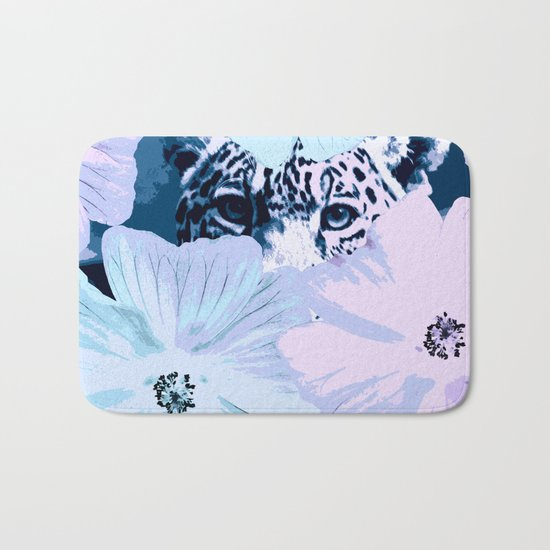 Behind the scenes - big cat hiding behind the flowers - lovely colors Bath Mat