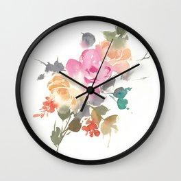 Colorful Watercolor Roses Wall Clock