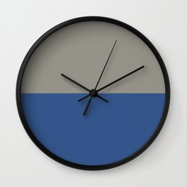 Classic Blue and Light Gray Taupe Solid Colors Horizontal Stripe Minimal Graphic Design  Wall Clock