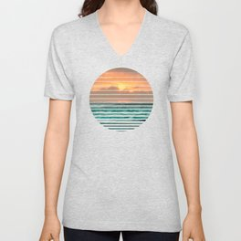 Turquoise Ocean Pink Sunset Unisex V-Neck