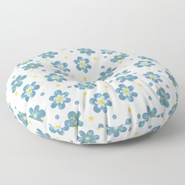 Doodle Button Floral Blue Yellow Floor Pillow