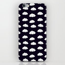 Sleeping cute clouds in black and white iPhone Skin