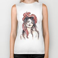 octopus Biker Tanks featuring Octopus by Nora Bisi